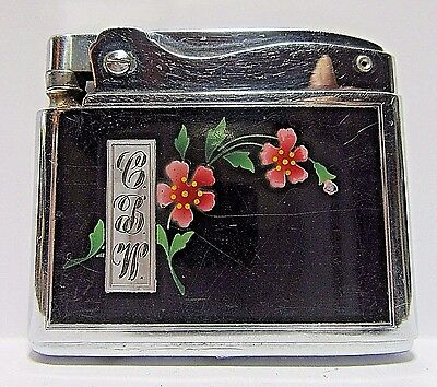 Vintage Ronson Adonis Lighter, Enamel Flowers, Made In USA, Very Good Condition