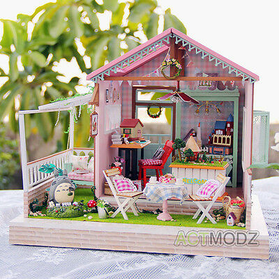 Wooden Dollhouse Miniature Furniture Wood Doll House DIY Kit Create Handcrafted