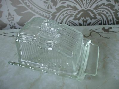 Vintage retro Art Deco Style Chunky Ribbed Glass Butter Dish & tray