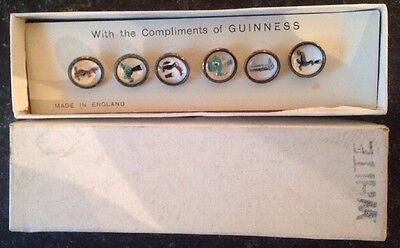 Vintage Original Guinness Glass And Enamel Waistcoat Buttons Advertising Set