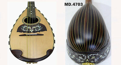 Antonio- Floral Inlaid Classical Bowl Back 8 Strings Solid Mandolin-Case 4703