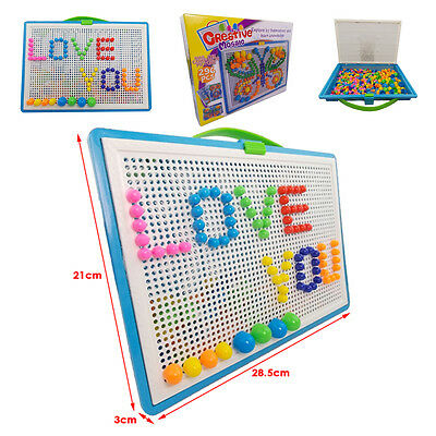 Children Puzzle Peg Board With 296 Pegs Kids Educational Toys Creative Crafts UK