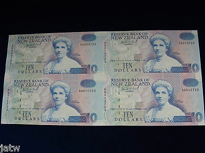 New Zealand . 1993 10 Dollar - Presentation Pack. Uncut Block of 4.  Brash