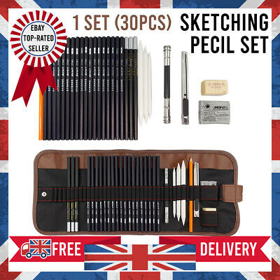 NEW 30x in Set Drawing Sketching Pencil Pen Set Writing Creative Art Student UK
