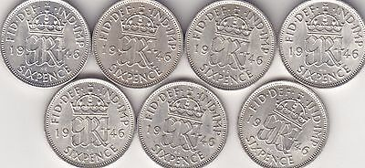 George VI, A Collection of 7 1946 Sixpences, Good Grade.