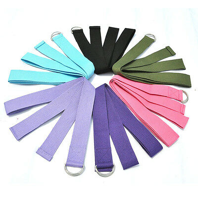 D-Ring Yoga Belt Strap Stretching Equipment Waist Leg Exercise Fitness Figure XU
