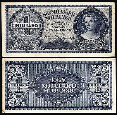 Hungary 1 Milliard (Billion) Pengo Milpengo 1946 F++Vf P.131