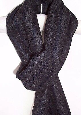 Mens Soft Cashmere Feel Scarf Reversible Grey Navy Blue Stripe Plain Frayed End