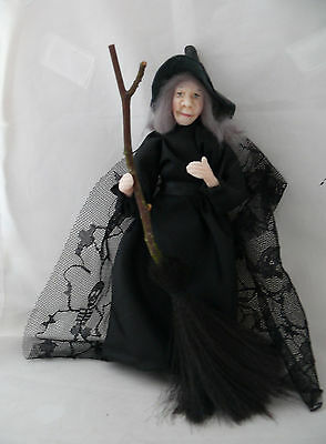Dolls House Miniature Black Dress Witch 1-12TH Scale