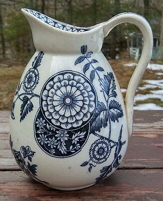 "ANTIQUE ""DELHI"" AESTHETIC BLACK TRANSFERWARE IRONSTONE PITCHER - S.C. & Co."
