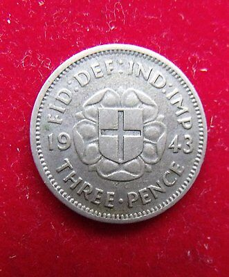 1943 George VI Silver Threepence in EF RARE Key date British Coins Collections