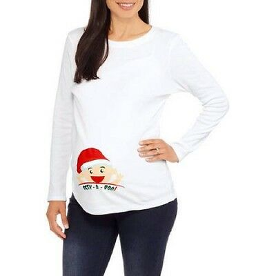 Introspect Maternity Christmas Peek-a-Boo Long Sleeve Graphic Tee, White, XXL