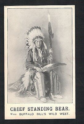 "Red Indian.""chief Standing Bear. Buffalo Bills Wild West"". Old Printed Postcard"