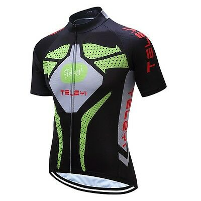 Men Cycling Bicycle Short Sleeve Jersey Top Bike Sportwear Clothing Black Green