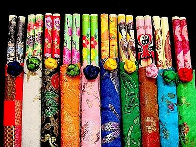 10 Chinese Party Chopsticks Color Silk Bag Japanese New Year Birthday Wedding