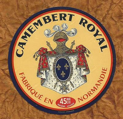 NORMANDIE  ancienne  ETIQUETTE CAMEMBERT  ROYAL  ARMOIRIES LYS
