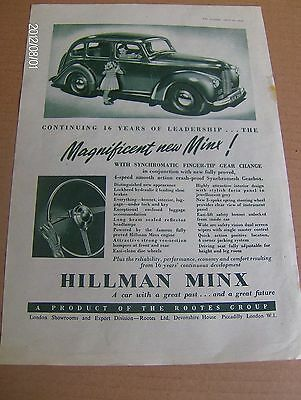 JAGUAR  & HILLMAN MINX  ORIGINAL ADVERTS 1948  ~HilM02