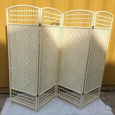 1X Ivory Knitted Room Divider 4 Panels Folding Screen