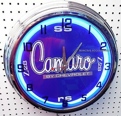 "17"" Chevrolet CAMARO Sign Single Neon Clock Chevy Z28 SS RS"