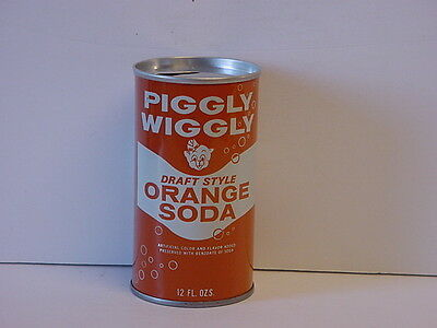 Vintage Piggly Wiggly Orange Soda Straight Steel Pull Tab Pop Can Top Opened
