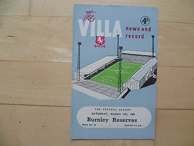 Aston Villa reserves v Burnley reserves 1965 Central League