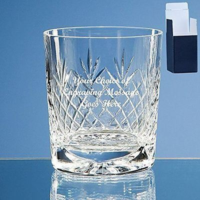 Personalised Engraved Cut Crystal Glass Whisky Tumbler with Panel-Free Engraving