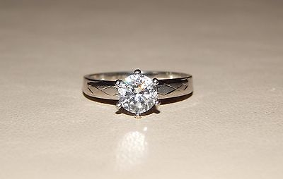Beautiful Murat 14k Solid White Gold 6mm Solitaire CZ Engagement Ring - Size 7