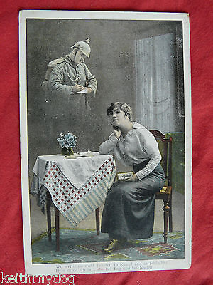 WW1 Patriotic German Military Postcard- German Soldier Writing a Letter Home