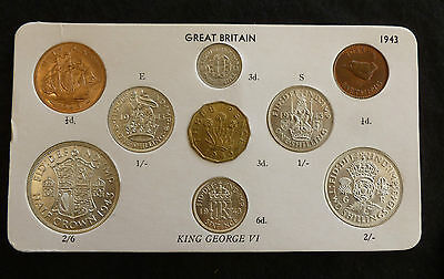 1943 George VI Quality 9-Coin Type Year Set On Card ( Halfcrown - Farthing )