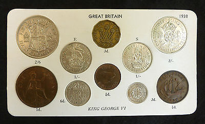 1938 George VI 10-Coin Type Year Set On Card ( Halfcrown - Farthing ) inc silver