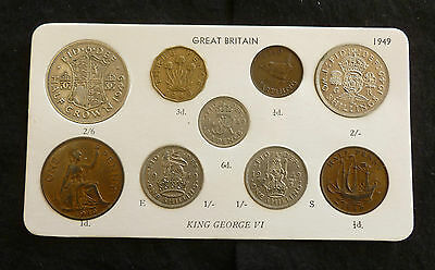 1949 George VI 9-Coin Type Year Set On Card ( Halfcrown - Farthing )