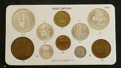 1944 George VI Quality 10-Coin Type Year Set On Card ( Halfcrown - Farthing)