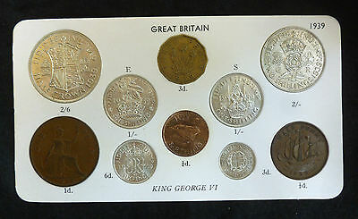 1939 George VI 10-Coin Type Year Set On Card ( Halfcrown - Farthing ) inc silver