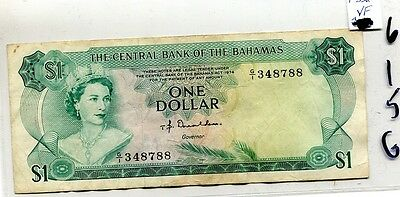 Bahamas 1974 $1 Currency Note Vf 615G