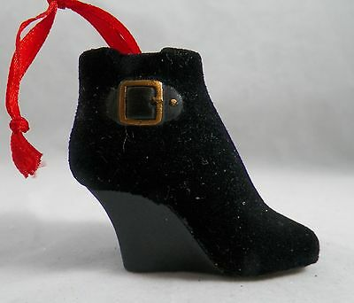 Black Flocked Wedge Boots with Buckle Christmas Tree Ornament new holiday