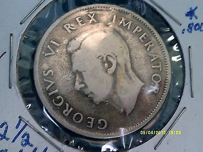 South Africa 2 1/2 Shillings Silver .800  1941  KM30