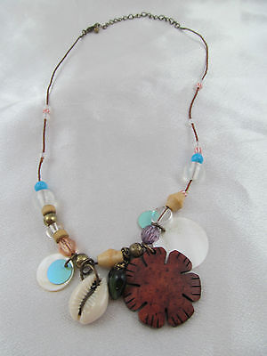 Vintage BRASS & MOTHER OF PEARL with SHELL NECKLACE, Natural Materials, Beads