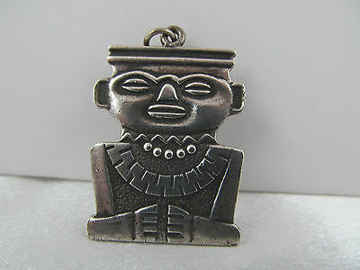 Vintage  SILVER NATIVE TRIBAL DESIGN PENDANT, KEYCHAIN, Native Chief, Detailed