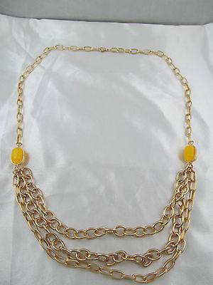 Vintage GOLD & YELLOW STONE TRIPLE STRAND LINK DESIGN STATEMENT NECKLACE, Lovely
