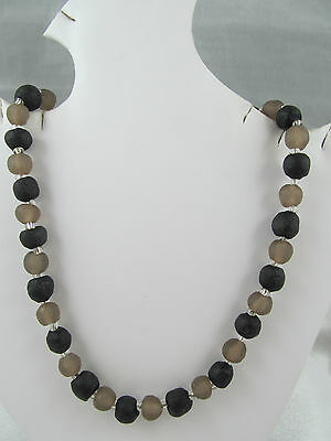 Vintage BLACK & GRAY GLASS BEADED NECKLACE, Natural Look Beads, Lovely