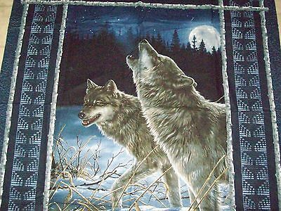 "New Fabric Panel    Wolf    Quilt Top Or Wall Hanging 36""x45 1/2"" Made In Usa"