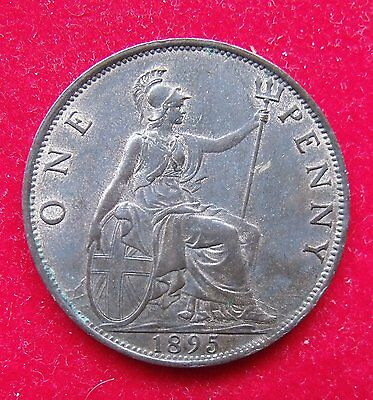 1895 Victoria Penny Coin EF near mint good condition