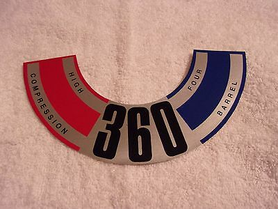 1970 Amc 360 High Compression Air Cleaner Decal Collectible Nascar  Drag Racing
