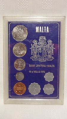 COLLECTABLE MALTA 1972 8 COIN UNCIRCULATED SET - cased