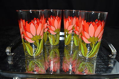 RETRO Set of 4 Vintage GLASSES Flamboyant 70s pink & red flowers