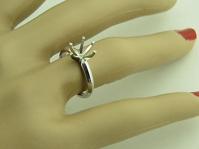 3.5Carat 14K White Gold Solitaire Ring Mounting For 10 MM Round Stone Setting