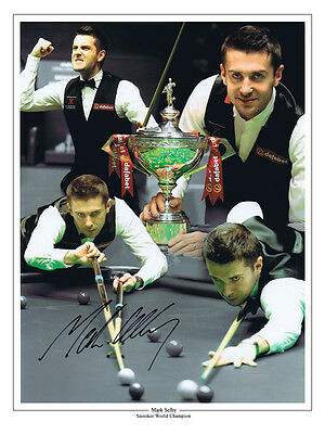 HAND SIGNED 16x12 MONTAGE PHOTO SNOOKER MARK SELBY