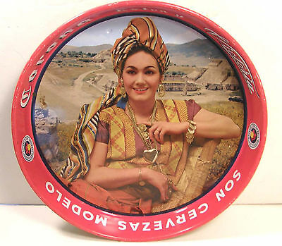 Vintage Tin Litho Advertising Beer Tray Corona Cerveza Girl W/coin Jewelry