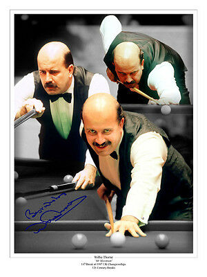 HAND SIGNED 16x12 MONTAGE PHOTO SNOOKER WILLIE THORNE