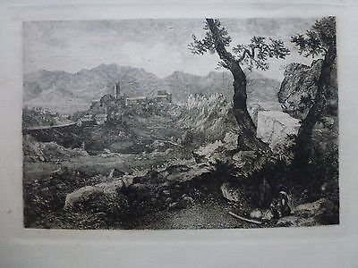 George Loring Brown ' View Near Rome 'Etching Signed In Plate.